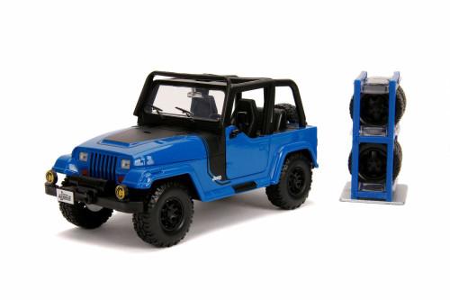 1992 Jeep Wrangler, Blue - Jada 54027/W23 - 1/24 scale Diecast Model Toy Car