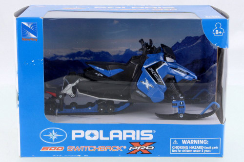 Polaris 800 Switchback Pro Snow Mobile, Blue w/ Black - New Ray 57783B - 1/16 Scale Vehicle Replica