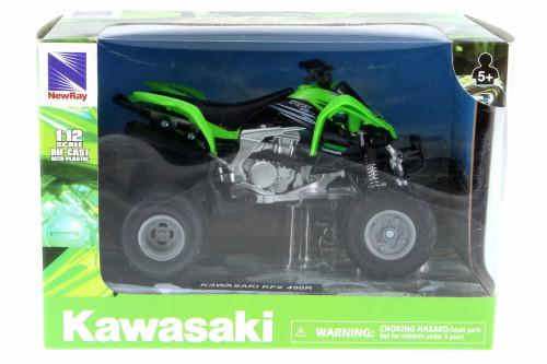 Kawasaki KFX 450R ATV, Green w/ Black - New Ray 57503S - 1/12 Scale Vehicle Replica