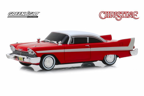 1958 Plymouth Fury Hardtop Evil Version with Blacked Out Windows, Red - Greenlight 86575 - 1/43 scale Diecast Model Toy Car