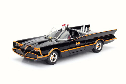 1966 Classic TV Series Batmobile, Black w/ Orange - Jada 98262 - 1/24 Scale Diecast Model Toy Car