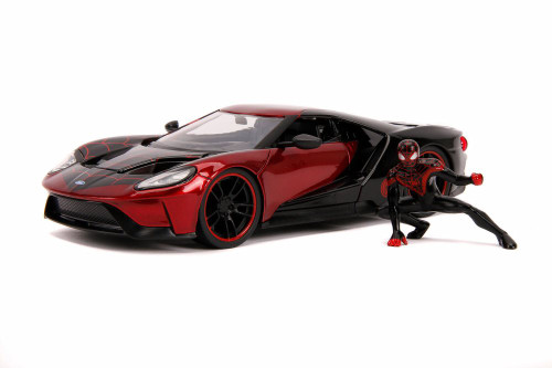 2007 Ford GT with Miles Morales Spider Man Figure, Red and Black - Jada 31190/4 - 1/24 Scale Diecast Model Toy Car