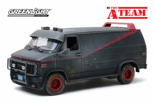 1983 GMC Vandura Weathered Version with Bullet Holes, The A-Team - Greenlight 13567 - 1/18 scale Diecast Model Toy Car