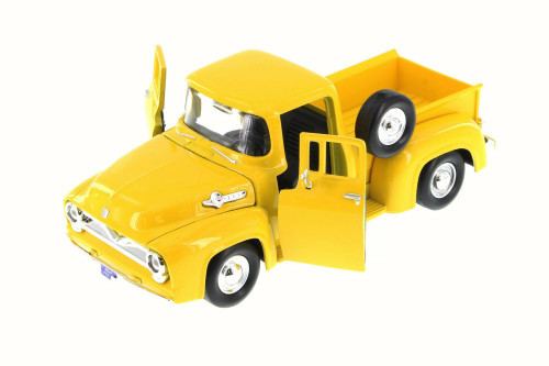 1955 Ford F-100 Pick Up truck, Yellow - Motor Max 79341WB - 1/24 Scale Diecast Model Toy Car