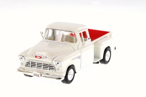 1955 Chevy 5100 Stepside Pick Up, White - Motor Max 73236W - 1/24 Scale Diecast Model Toy Car
