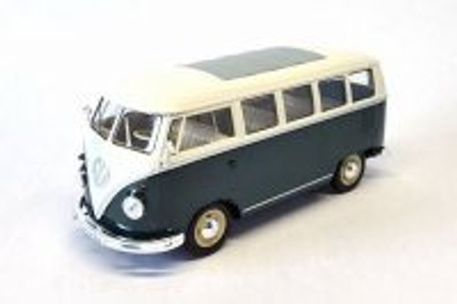 1963 Volkswagen Classical T1 Bus, Green w/ White - Welly 22095WGN - 1/24 Scale Diecast Model Toy Car