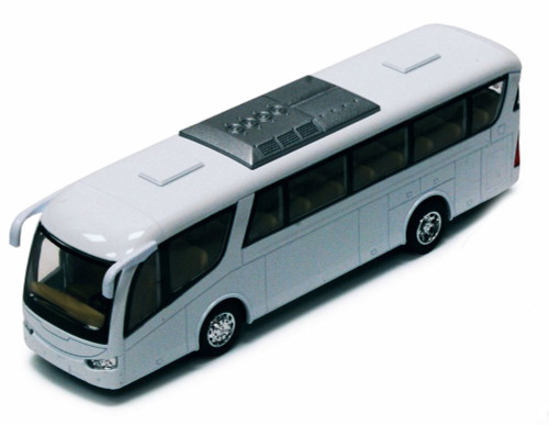 "Coach Bus, White - Kinsmart 7101DW - 7"" Diecast Model Toy Car"