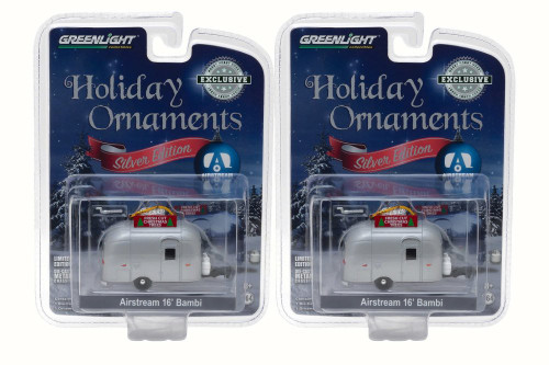 Box of 12 Diecast Model Cars - Airstream 16' Bambi Holiday Ornament with Hook Ring 'Fresh Cut Christmas Trees', Silver, 1/64 Scale