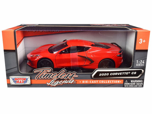 2020 Chevy Corvette C8 Stingray, Red - Motor Max 79360RD - 1/24 scale Diecast Model Toy Car