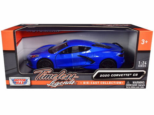 2020 Chevy Corvette C8 Stingray, Blue - Motor Max 79360BL - 1/24 scale Diecast Model Toy Car