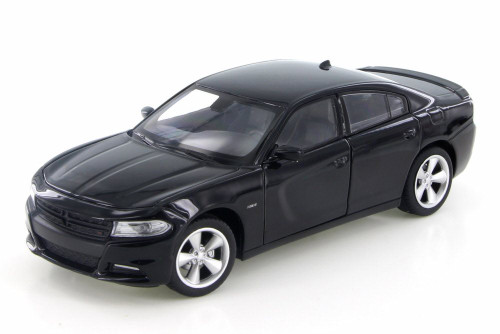 2016 Dodge Charger R/T, Black - Welly 28079D - 1/24 Scale Diecast Model Toy Car