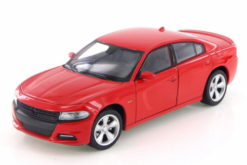 2016 Dodge Charger R/T, Red - Welly 28079D - 1/24 Scale Diecast Model Toy Car