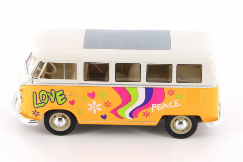 1963 Volkswagen Classical T1 Bus w/ Love/Peace Decals, Yellow - Welly 22095A1/4D - 1/24 Scale Diecast Model Toy Car