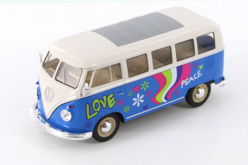 1963 Volkswagen Classical T1 Bus w/ Love/Peace Decals, Light Blue - Welly 22095A1/4D - 1/24 Scale Diecast Model Toy Car