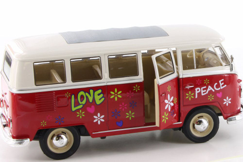 1963 Volkswagen Classical T1 Bus w/ Love/Peace Decals, Red - Welly 22095A1/4D - 1/24 Scale Diecast Model Toy Car