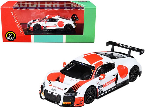 2018 Audi R8 LMS #66 WRT Suzuka 10 Hours, White and Red - Paragon PA55262 - 1/64 scale Diecast Model Toy Car