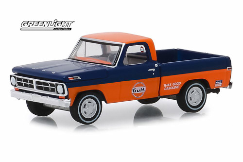 1971 Ford F-100 Pickup Truck, Gulf Oil - Greenlight 41070/48 - 1/64 Scale Diecast Model Toy Car