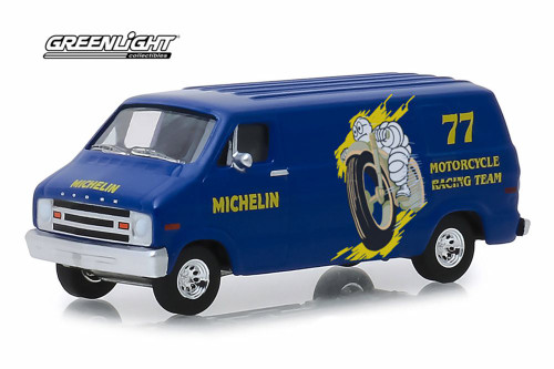 1977 Dodge B-100 Van, Michelin Tires - Greenlight 41070/48 - 1/64 Scale Diecast Model Toy Car