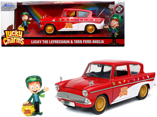 Lucky Charms 1959 Ford Anglia Red and White with Lucky the Leprechaun Diecast Figurine, Red - Jada Toys 32200 - 1/24 scale Diecast Model Toy Car