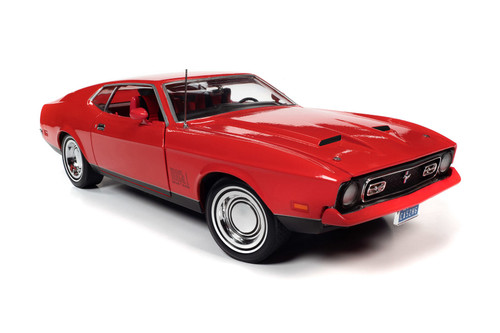 1971 Ford Mustang Mach 1 Hardtop, Bright Red - Auto World AWSS126 - 1/18 scale Diecast Model Toy Car