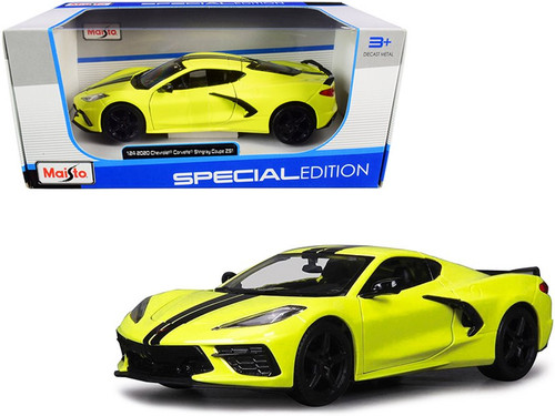 2020 Chevy Corvette Stingray Coupe Z51, Yellow - Maisto 31527YL - 1/24 scale Diecast Model Toy Car