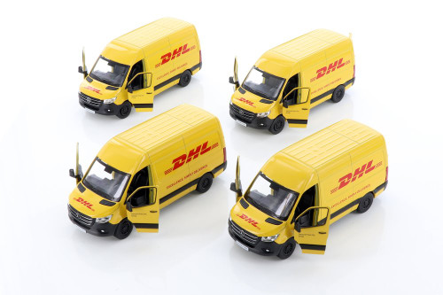 Kinsmart Mercedes-Benz Sprinter DHL Delivery Van Diecast Car Set - Box of 12 assorted 1/48 scale Diecast Model Cars