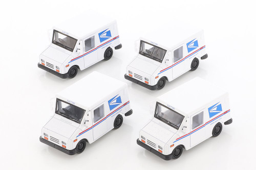 Kinsmart United States Postal Service (USPS) Long Live Postal Mail Delivery Vehicle (LLV) Diecast Car Set - Box of 12 assorted 1/72 scale Diecast Model Cars