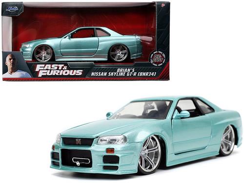 Brian's Nissan Skyline GT-R BNR34, Fast and Furious - Jada Toys 32608/4 - 1/24 scale Diecast Model Toy Car