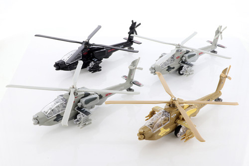 ModelToyCars Combat Copter with Lights & Sounds Diecast Helicopter Set - Box of 6  Diecast Toy Helicopters, Assorted Colors