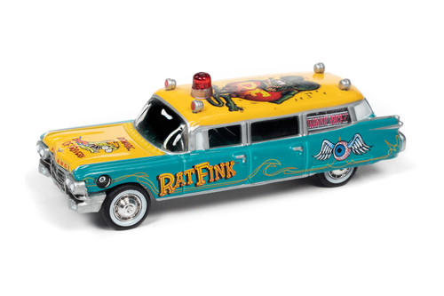 """1959 Cadillac Ambulance """"Rat Fink, Turquoise and Yellow - Johnny Lightning JLSP143/24 - 1/64 scale Diecast Model Toy Car"""