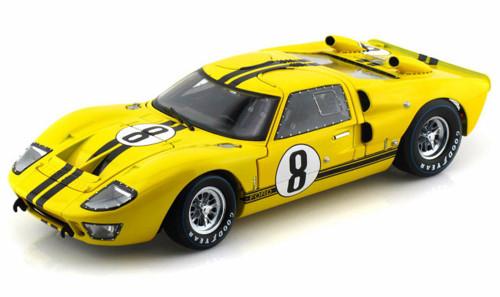 1966 Ford GT-40 MK II #8, Yellow w/ Black Stripes - Shelby  SC417 - 1/18 Scale Diecast Model Toy Car