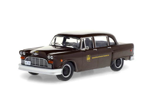 (UPS) Canada Ltd 1975 Checker Taxicab Parcel Delivery, Brown - Greenlight 86196 - 1/43 scale Diecast Model Toy Car