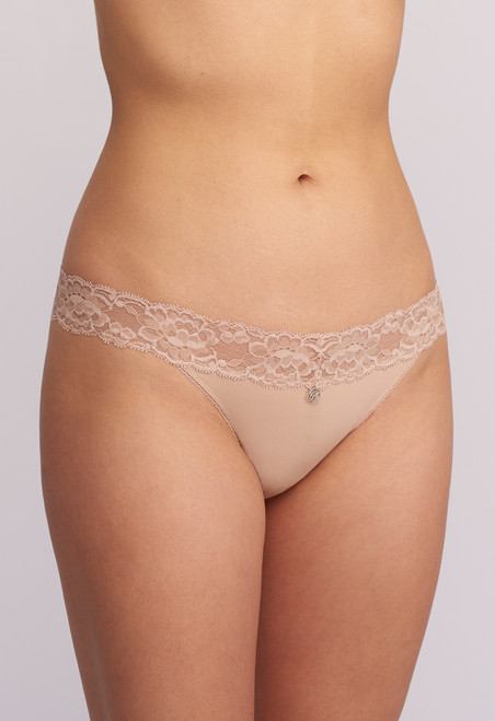 Montelle Lace and Microfiber Low Rise Thong 9002