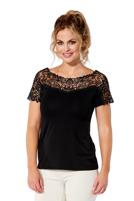 Arianne Teri Short Sleeve Top with Appliqué 9499