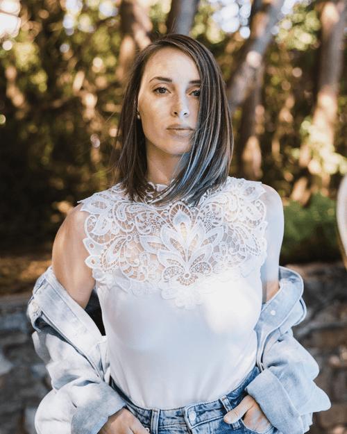 Arianne Teri Reversible Lace Knit Top with Appliqué 5501