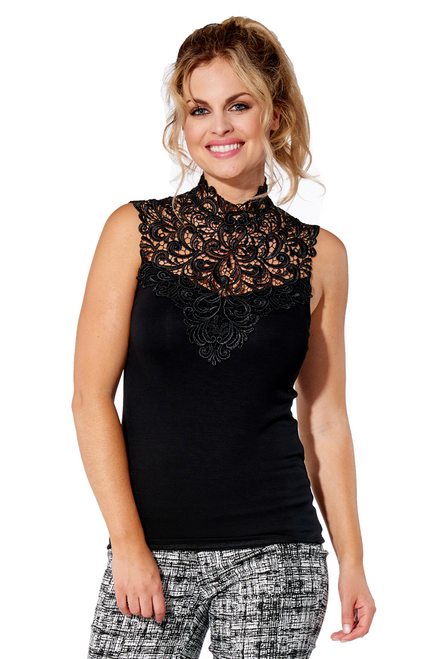 Arianne Teri Knit Camisole with Front Appliqué and Back Button Closing 5507