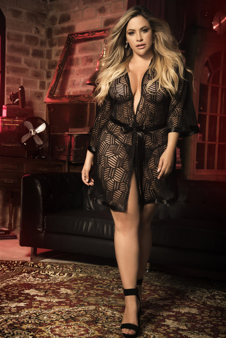Mapale Short Lace Robe with Matching G-String  Small to 3XL 8443