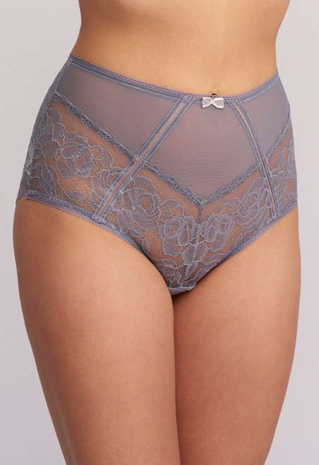 Montelle Silver Dreams Lace & Mesh High Waisted Panty 9090