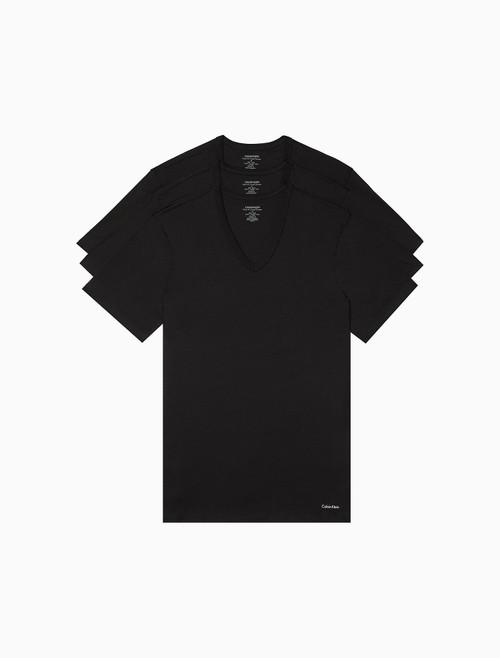 Calvin Klein Cotton Slim Fit 3 Pack Short Sleeve V-Neck T-Shirt NB4014