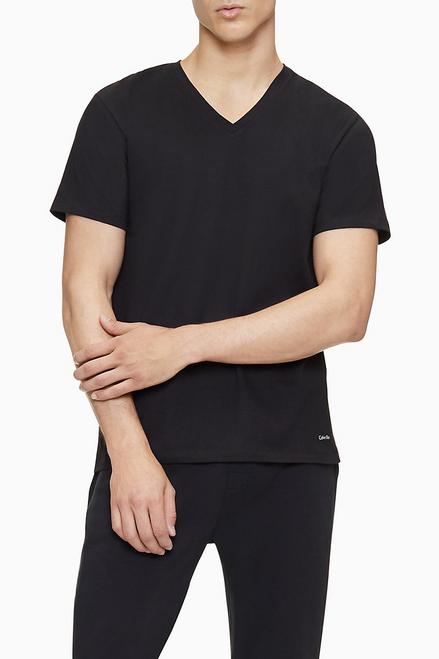 Calvin Klein Cotton Classic 3 Pack Short Sleeve V-Neck T-Shirt NB4012