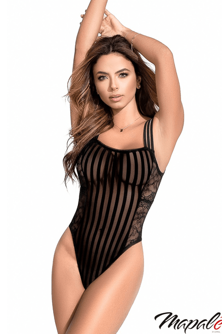 Mapale Striped Sheer Bodysuit With Lace Inserts 7243