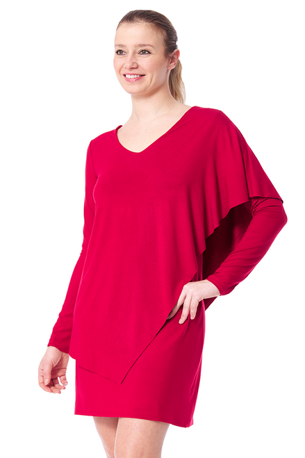 Arianne Solid V-Neck Long Sleeve Double Layer  Dress 8617