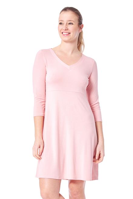 Arianne Solid V-Neck Long Sleeve Dress 8616