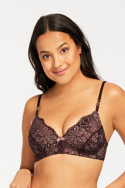 Montelle Two Tone Lace Wireless Cocoa Bliss Bra 9172