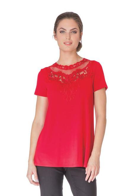 Arianne Teri Short Sleeve Top with Appliqué 9755