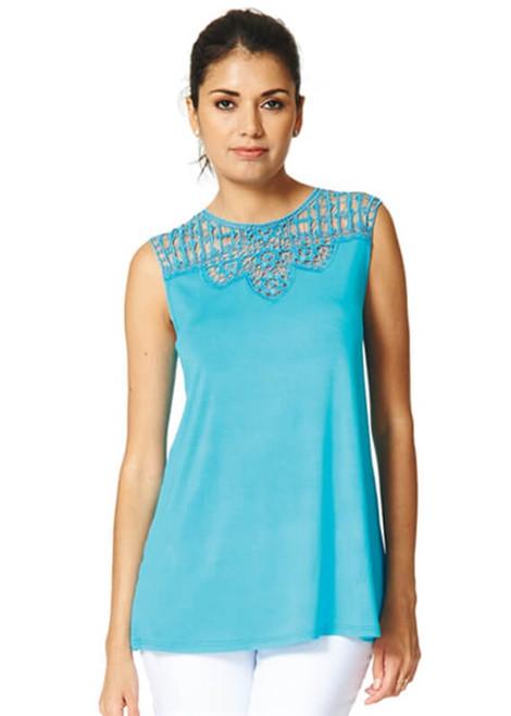 Arianne Teri Long Knit Top with Lace Appliqué 5759L