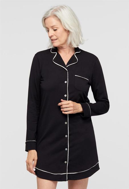 Lusomé  Cotton Long Sleeve Marilyn Button Down Sleepshirt LS17-154