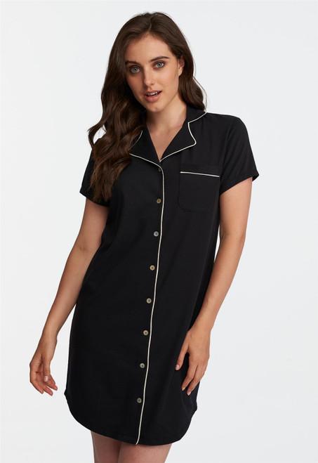 Lusomé  Cotton Cap Sleeve Marilyn Button Down Sleepshirt LS18-210