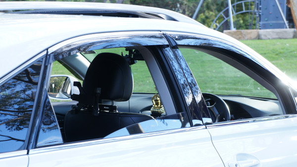 Premium Slim Line Weathershields - Tinted Glass - Chrome Ribbon