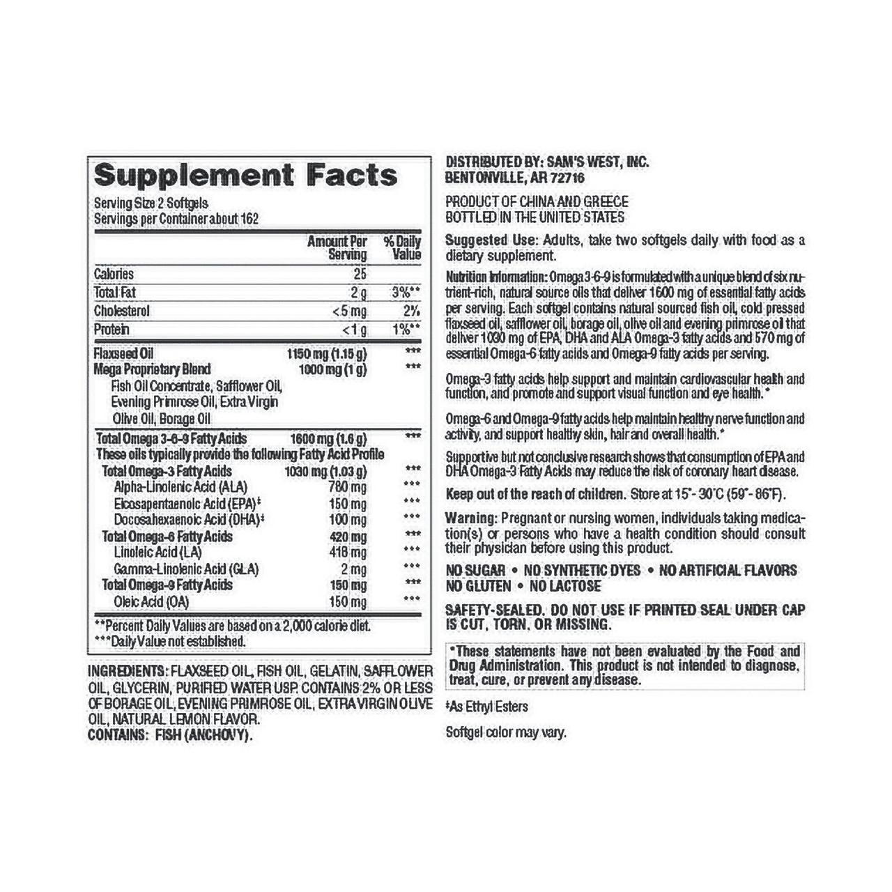 Member's Mark Omega 3-6-9 Dietary Supplement (325 ct.) - *In Store